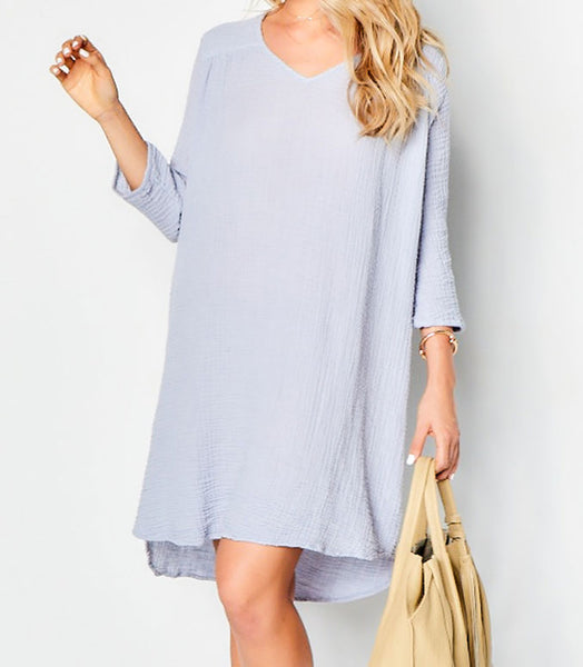 Venice Dress Gauze  - Grey Skies