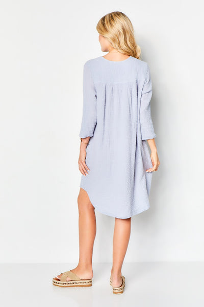 Venice Dress Cotton Gauze  - Grey Skies