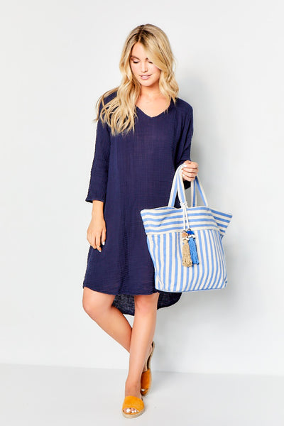 Venice Dress Gauze  - Navy