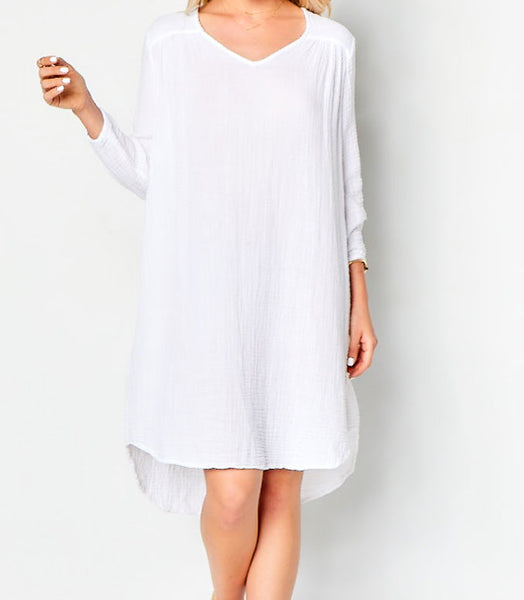Venice Dress Cotton Gauze - White