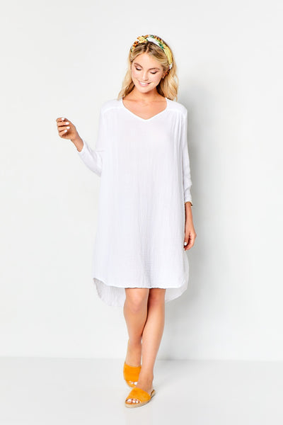 Venice Dress Gauze  - White