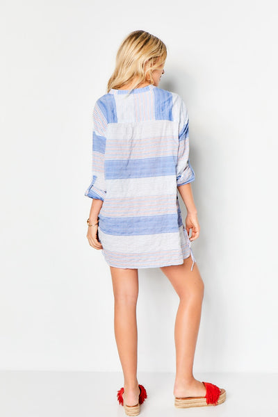 Side Lace Tunic 100% Organic Cotton - Multi Stripe