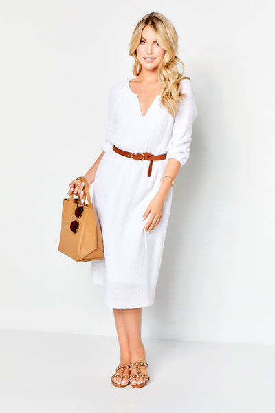 Peasant Dress Gauze - White