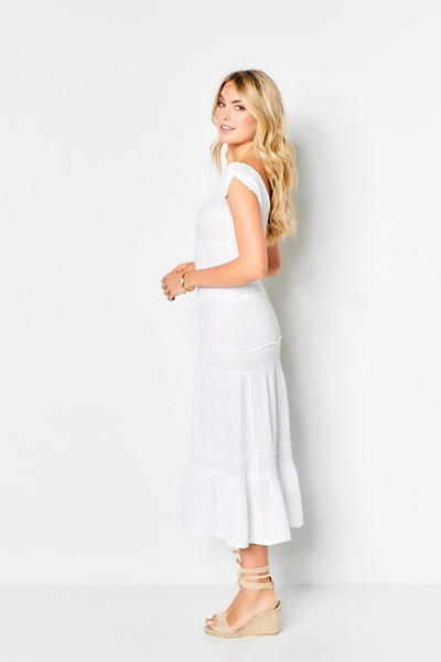 Smocked Gauze Dress - White