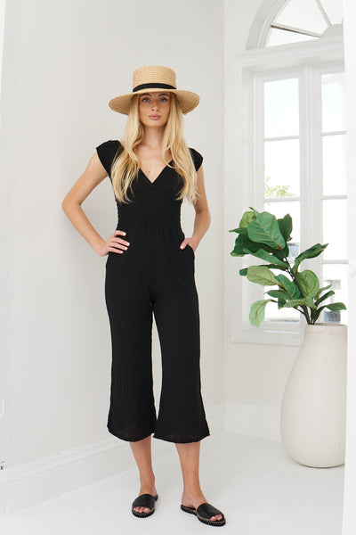Smocked Jumpsuit Cotton Gauze - Black