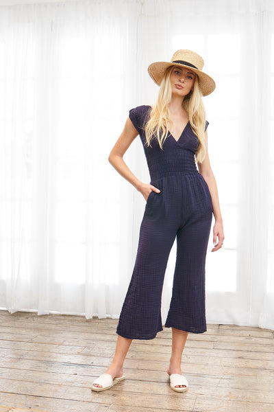 Smocked Jumpsuit Cotton Gauze - Navy