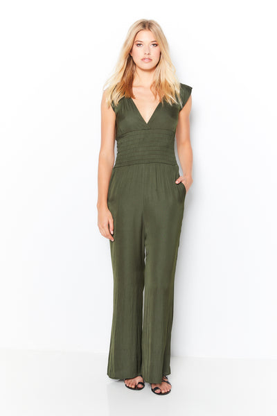 Smocked Jumpsuit Recycle Poly - Olive