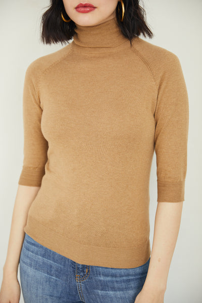 Short Sleeve Turtle Neck - Camel