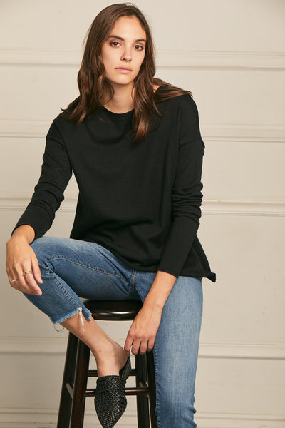 High-Low Sweater Cotton Cashmere - Black