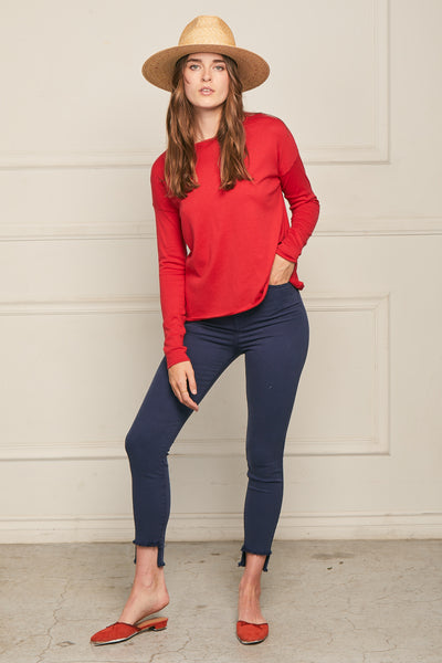 High-Low Sweater Cotton Cashmere - Cherry