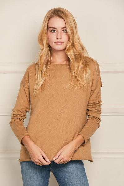 High-Low Sweater Cotton Cashmere - Desert Sand