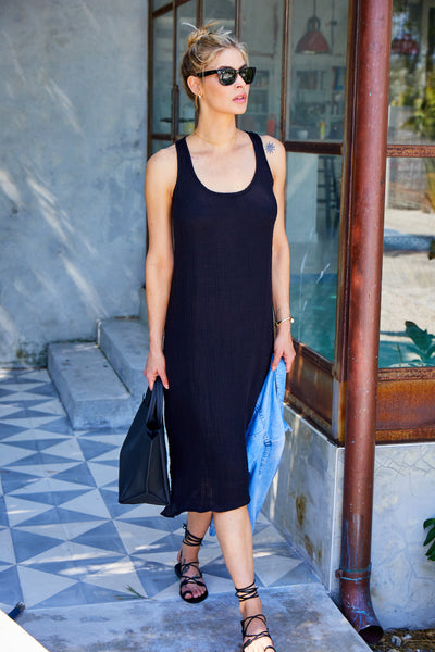 Racerback Midi Dress Cotton Gauze - Black
