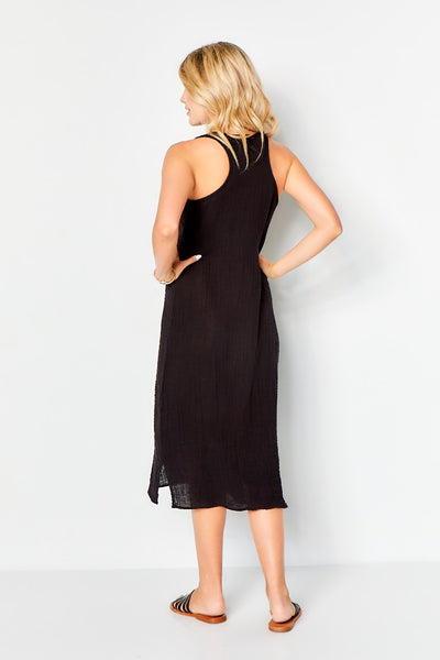 Racer Tank Midi Dress - Black