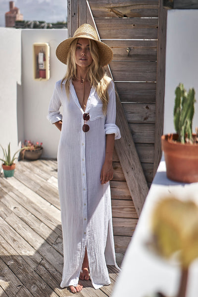 Boyfriend Maxi Dress White