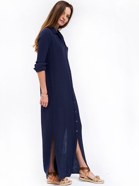 Boyfriend Maxi Dress Cotton Gauze - Navy
