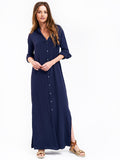 Boyfriend Maxi Dress Gauze - Navy