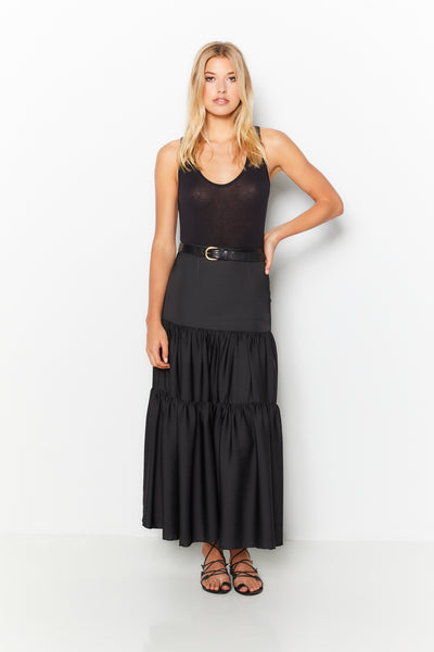Side Slit Maxi Skirt 100% Recycled Polyester - Black
