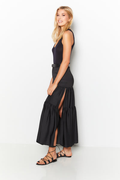 Side Slit Maxi Skirt 100% Recycled Polyester - Olive