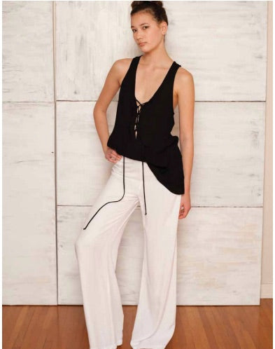 Rayon Tencel Wide Leg Pant - White