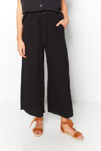 Wide Leg Pant  Gauze Skirt Black