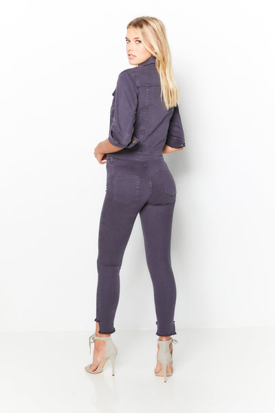 High Waist Skinny Pant Twill - Carbon