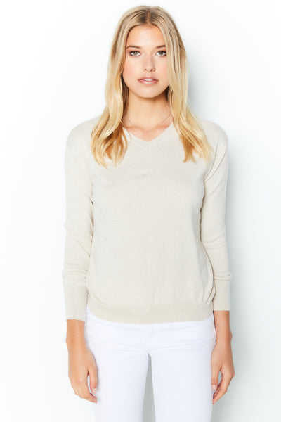 Shrunken V Neck Sweater  Cotton Cashmere - Chantilly