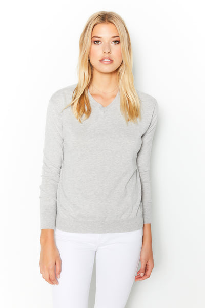 Shrunken V Neck Sweater Cotton Cashmere - Light Gray