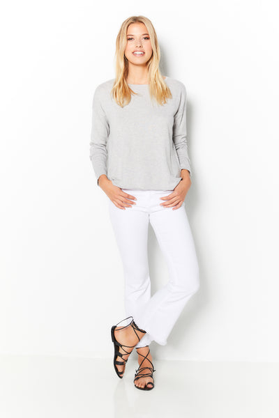 High-Low Sweater Cotton Cashmere - Silver