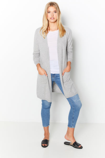Pocket Cardigan Cashmere  - Light Grey