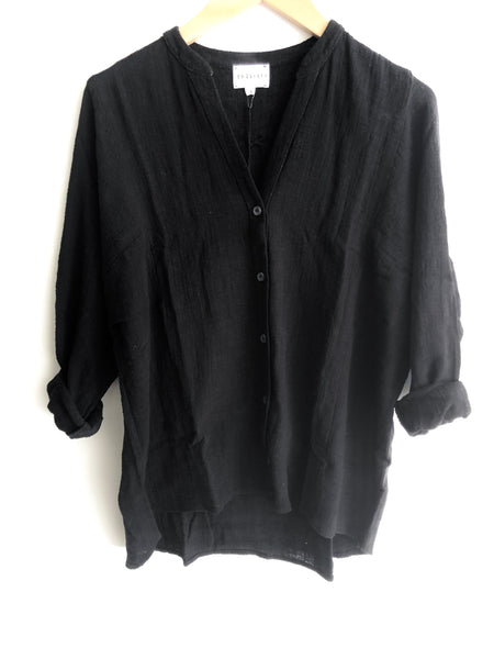 Dolman Top Italian  Gauze Black