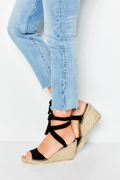 Niza Suede Wedge Espadrille - Black
