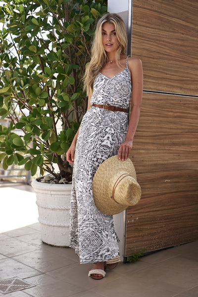 Aztec Print Rayon Spandex Maxi Dress - Black and White