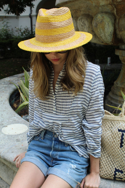 Pintuck Top  -Navy  Stripe