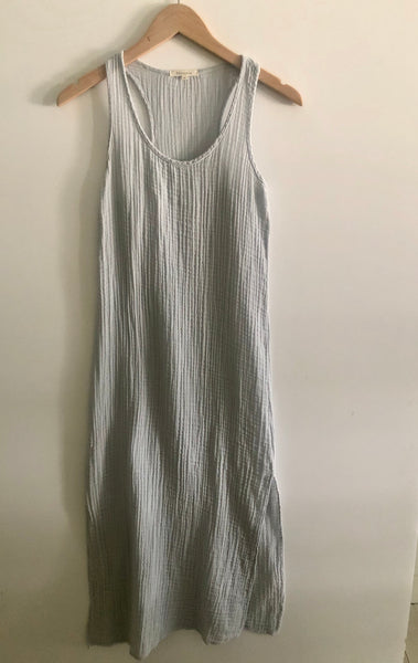 Racerback Midi Dress Cotton Gauze - Grey Skies