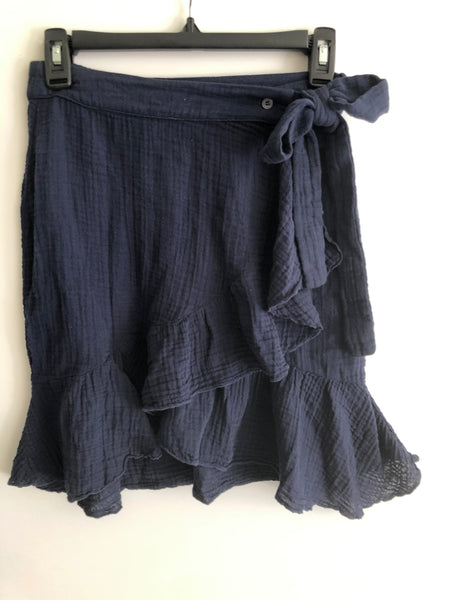 Ruffle Wrap Mini Skirt Cotton Gauze- Navy
