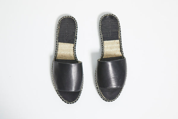 Olivia Slide Leather  - Black