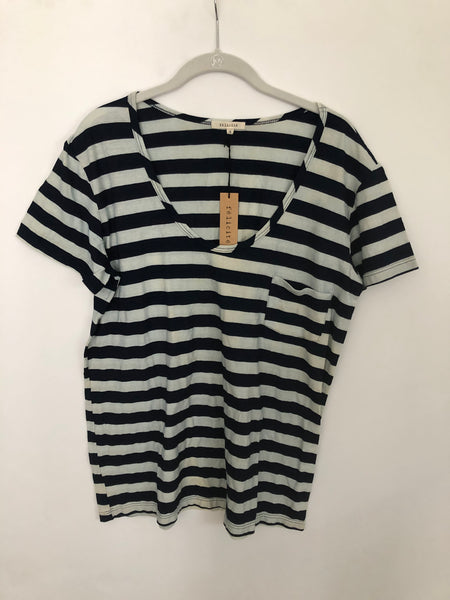 Pocket Tee  Stripe Indigo T- Dark