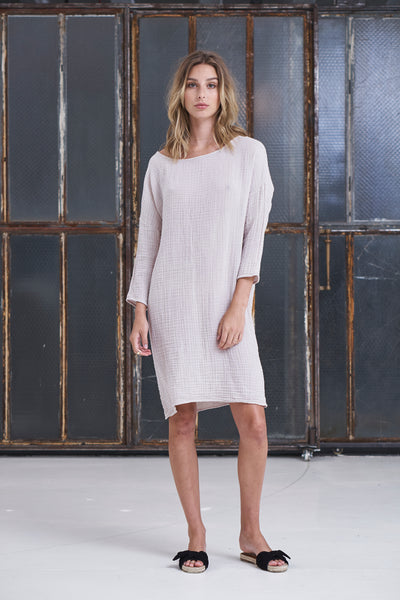 Boat Neck Dress Cotton Gauze - Flint