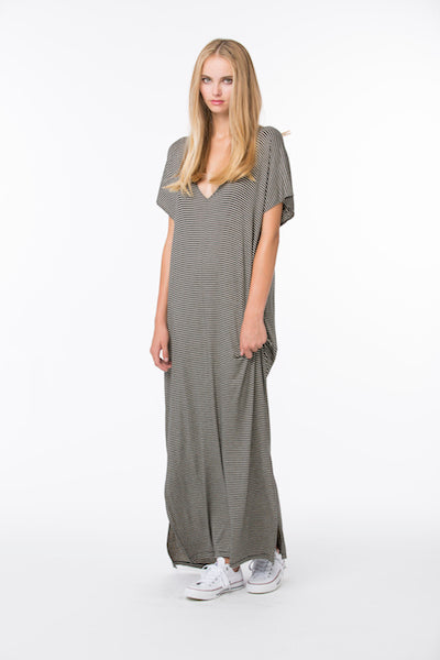 V Neck Maxi Modal Dress - Black Stripe