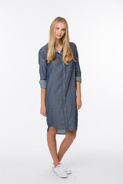 Boyfriend Dress100% Indigo - Dark Wash