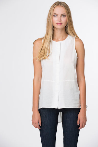 Fish Tail Top French Cotton -White