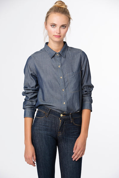 Boyfriend Top 100% Indigo Cotton - Dark Wash