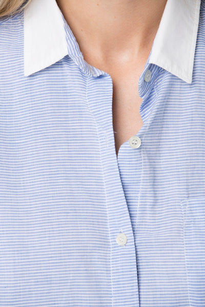 Pullover Top Italian Linen - Blue Stripe