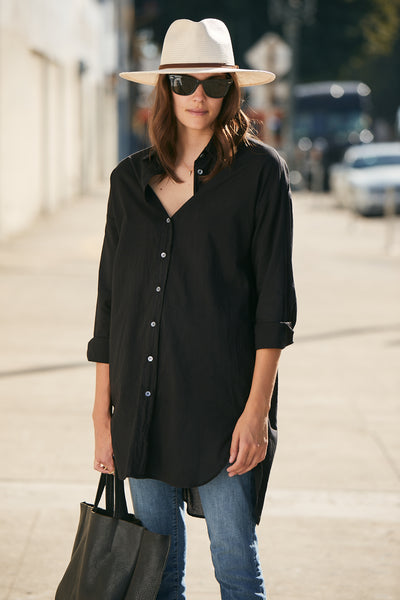 Boyfriend Tunic Cotton- Black