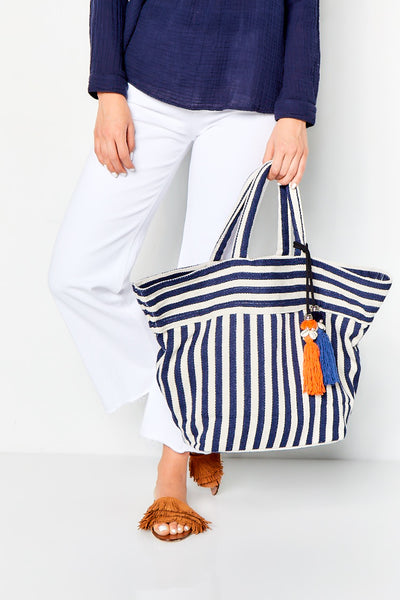 VALERIE SMALL TOTE  - NAVY STRIPE