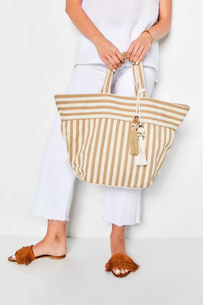 VALERIE SMALL TOTE  - TAN STRIPE