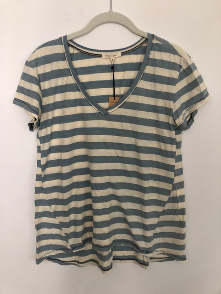 V Neck Stripe Indigo T- Light Wash