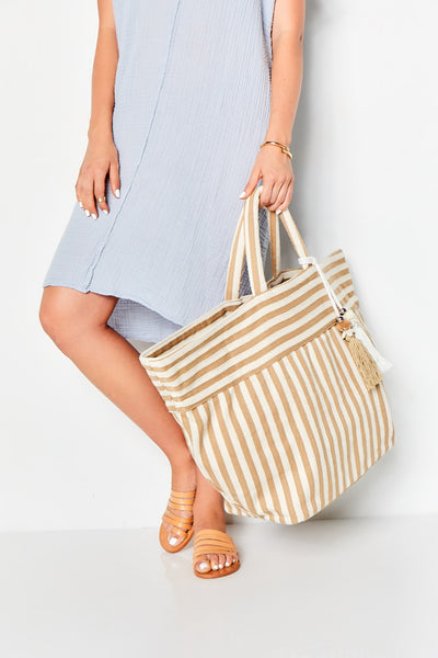 VALERIE BEACH BEACH BAG - TAN STRIPE