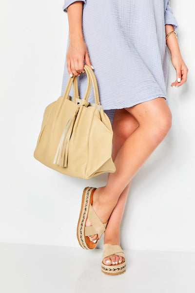 ZOE TOTE with Tassel  - Sand