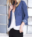 Crop Denim Shirt Dark Wash